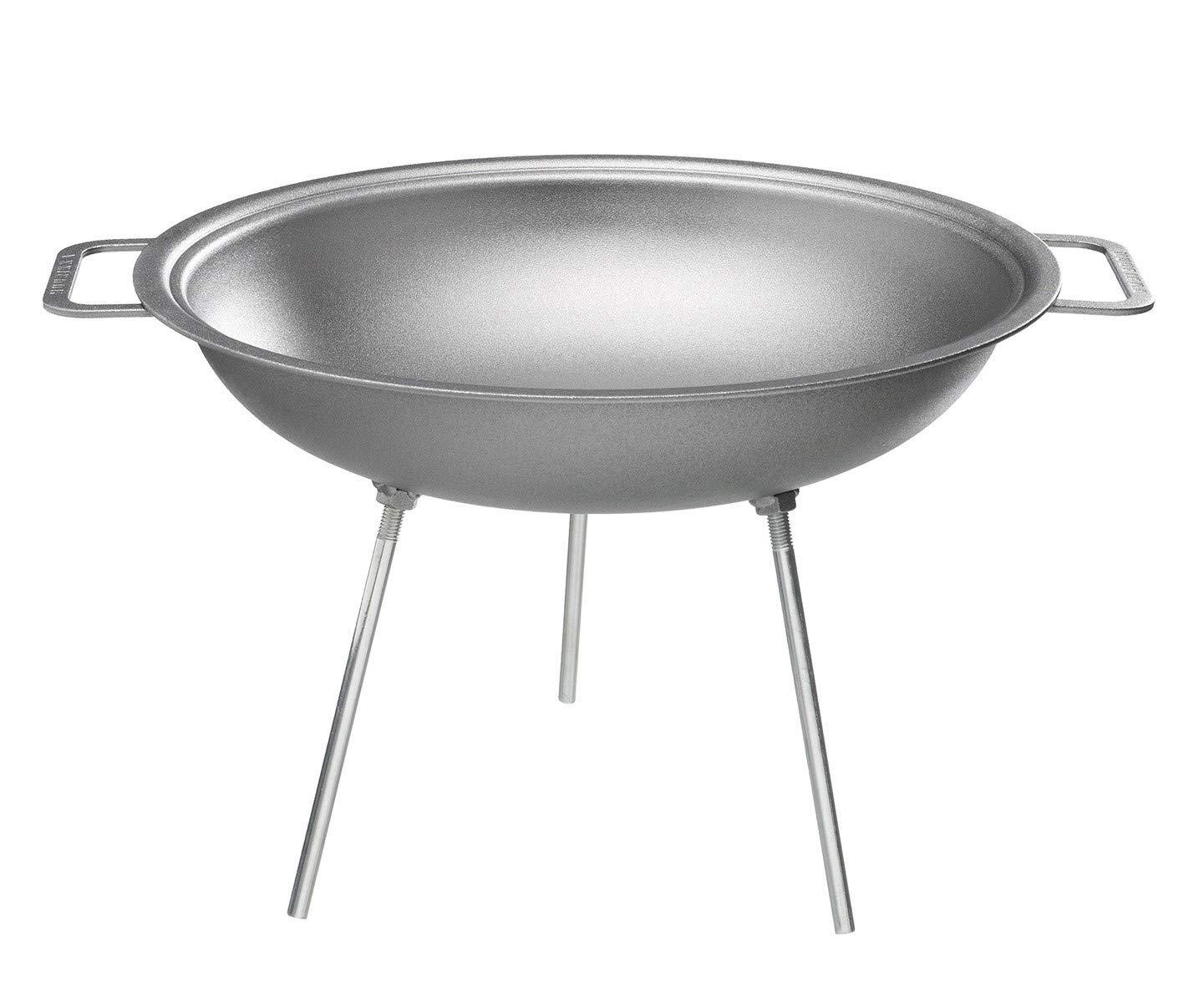Muurikka 01040195 Wokpfanne mit Beinen, 43 cm, Stahl, Grau