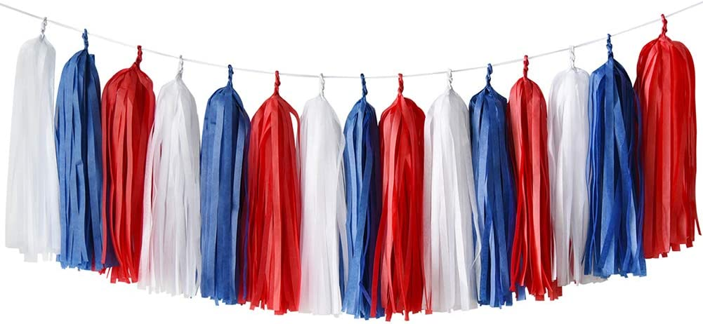 FAST SHIPPING 20 Tassel New England Patriots Tissue Paper Garland Super Bowl Party Red White Navy Patriots Football Party Decorations
