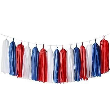 Amazon.com: 12 guirnaldas de papel de seda color crema y ...