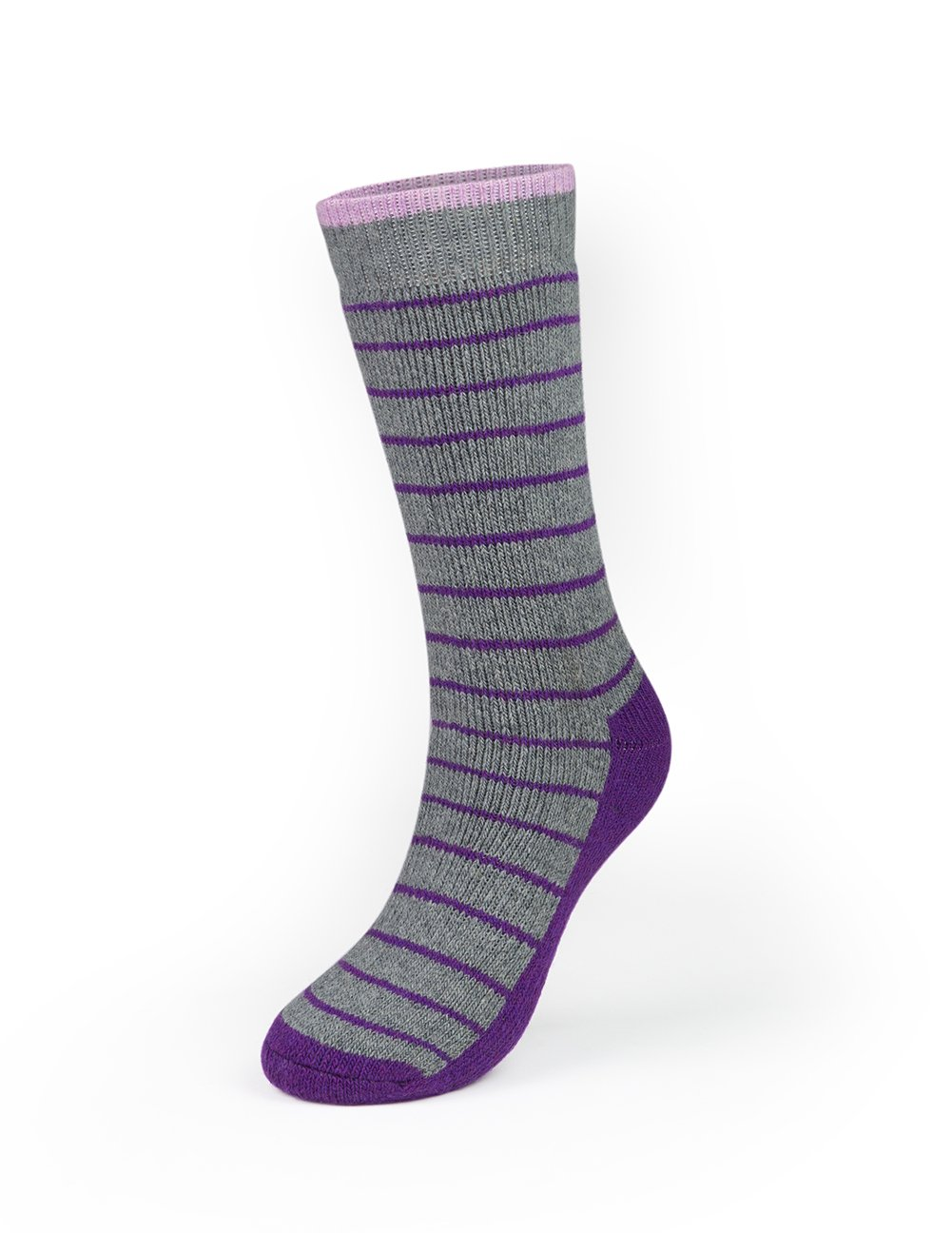 Kodiak - Women's Crew Socks - Style 4340 - Gray with Purple Accents