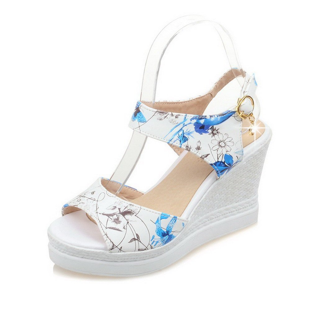 WeiPoot Women's Soft Material Buckle Open Toe High-Heels Assorted Color Wedges-Sandals, Blue, 34