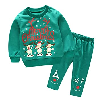 37bf62f2f1a6 Amazon.com  Iuhan 2PC Baby Christmas Tops Outfit for 1-4Years Boys ...