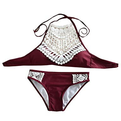 AiSi Damen modern Spitze Bademode/ Bikinis/ Bikini-Sets Badeanzug  Bikinihose Bikinioberteile Neckholder, eignen nationalen Stil, weinrot L XL
