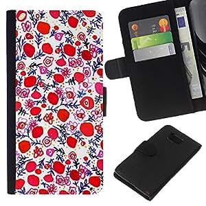 KLONGSHOP // Tirón de la caja Cartera de cuero con ranuras para tarjetas - Porcelana Pintura Wallpaper Red - Samsung ALPHA G850 //