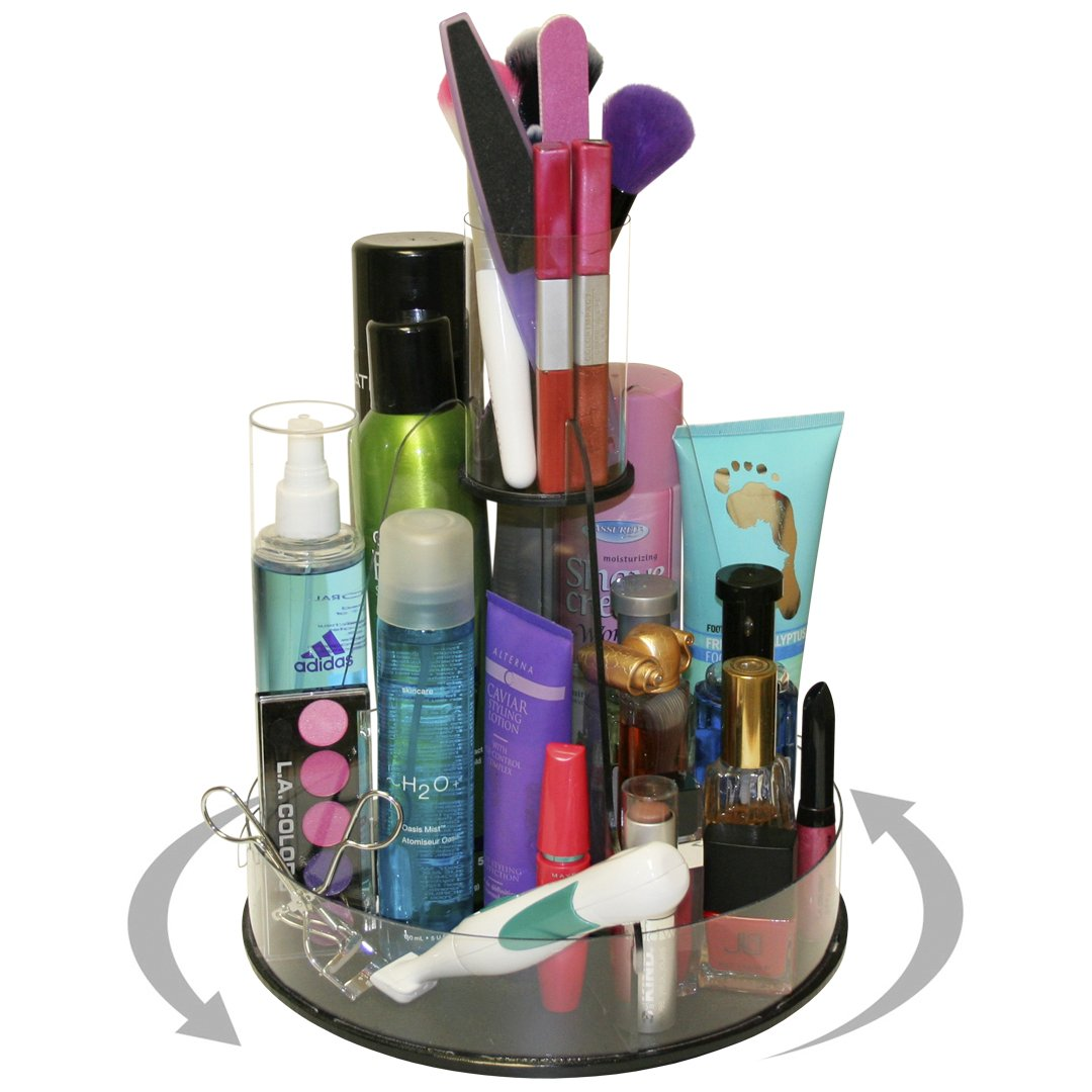 Makeup and Cosmetics Spinning Organizer with Tube Holder for Brushes,Only 10'' of Counter Space Needed and One Spin...and No More Clutter! Proudly Made in the USA ! by PPM.