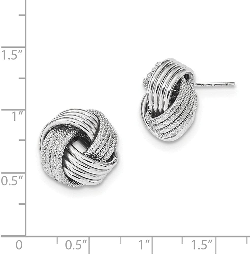 14k White Gold Textured Polished Love Knot Post Earrings Love Knots