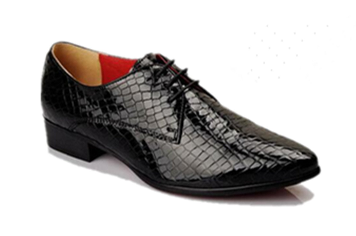 HAPPYSHOP(TM Mens British Style Pint-Tipped Leather Business Shoes Lace-up Winklepickers (M 38 EU, Black) by HAPPYSHOP