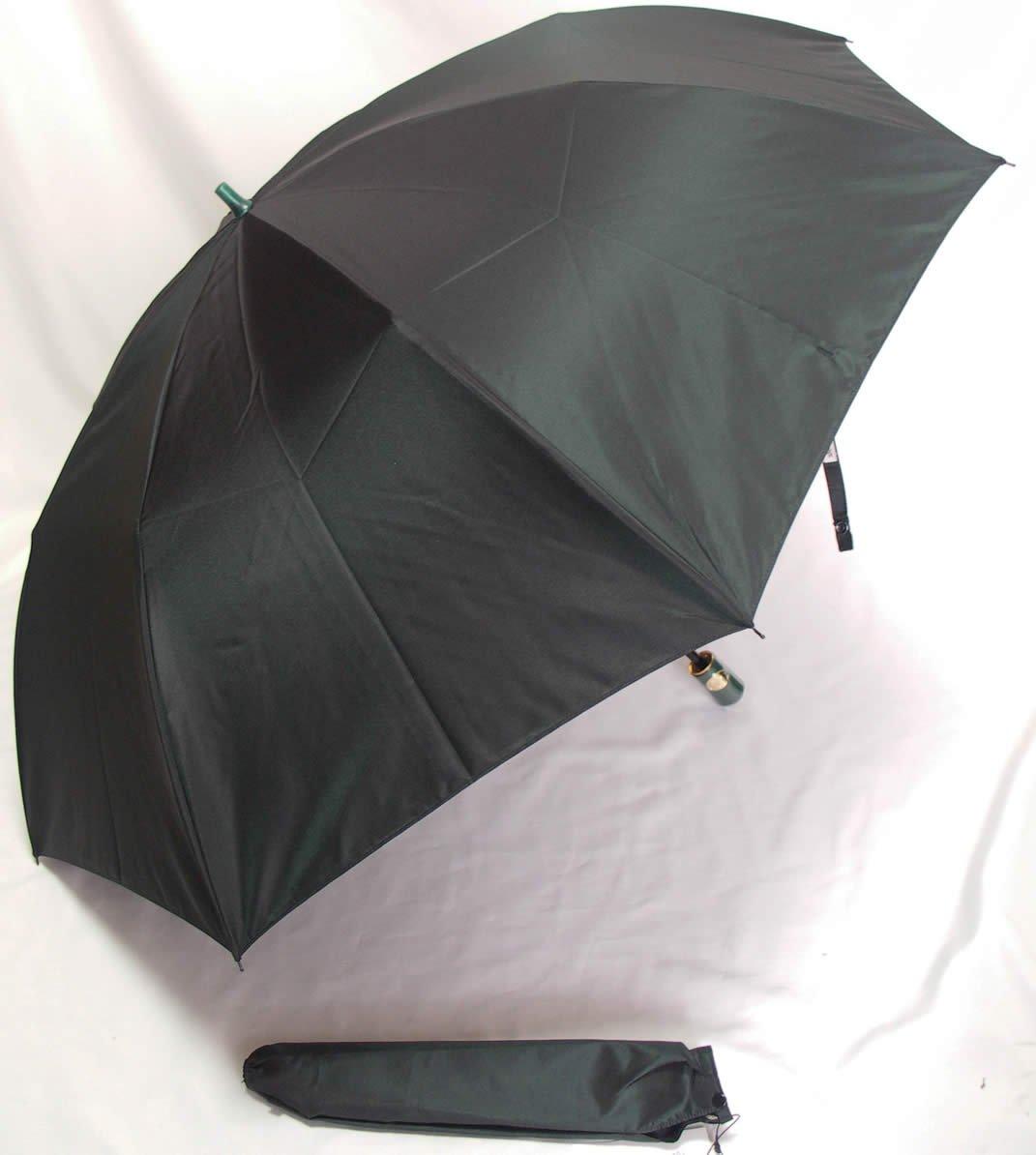前原光栄商店 前原傘 紳士用折りたたみ シャンブレー グリーン カラーリング手元 B06XKJ919F