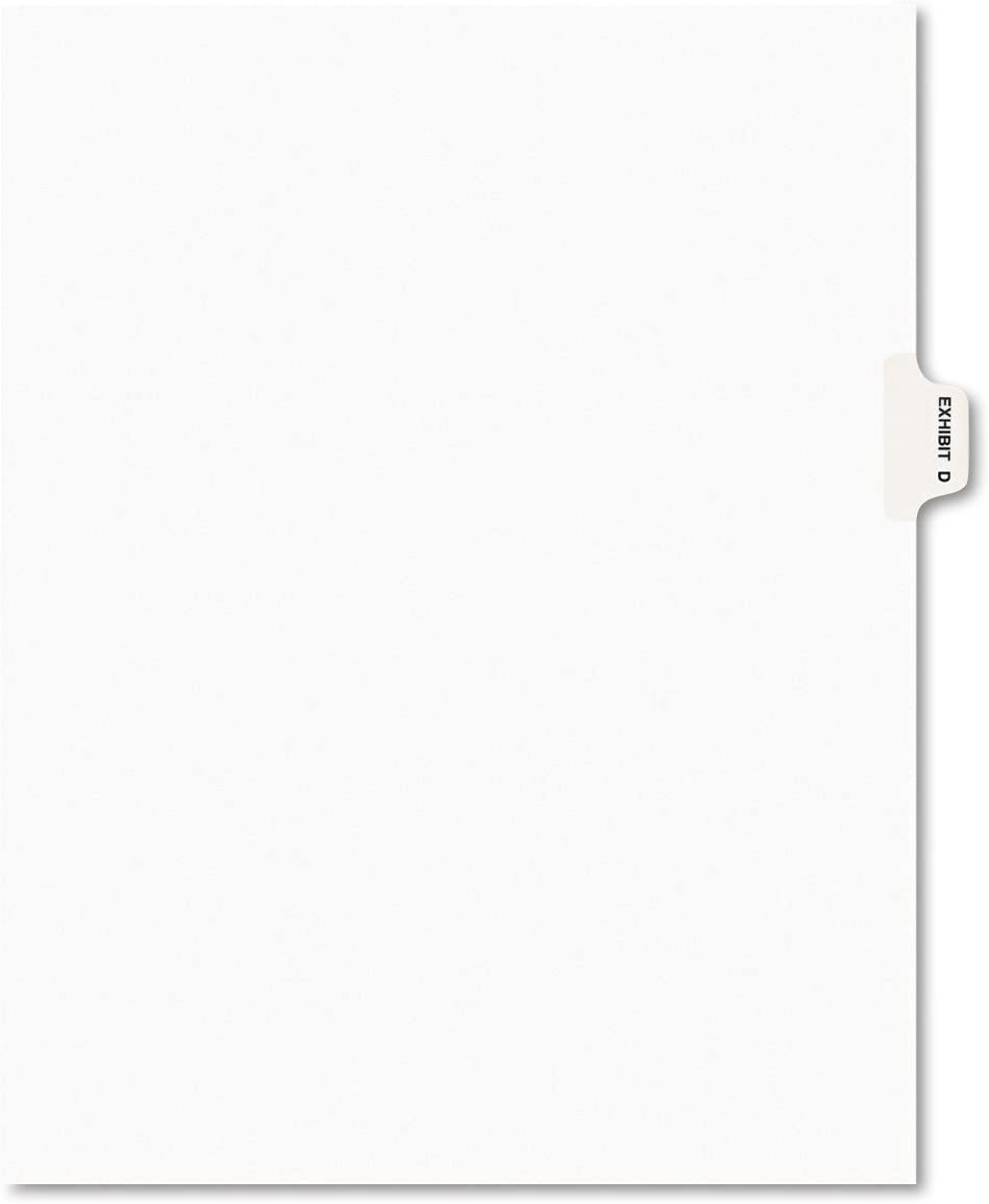 Avery 01374 Avery-Style Preprinted Legal Side Tab Divider, Exhibit D, Letter, White (Pack of 25)