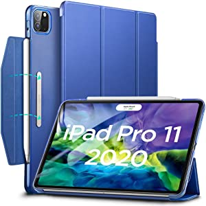 "ESR Yippee Trifold Smart Case for iPad Pro 11 2020 & 2018, Lightweight Stand Case with Clasp, Auto Sleep/Wake [Supports Pencil 2 Wireless Charging], Hard Back Cover for iPad Pro 11"", Navy Blue"