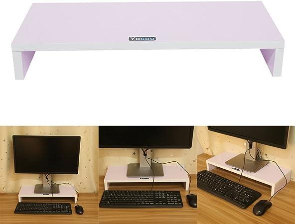 Soporte de Madera Universal para Monitor, TV, Portátil, Estante de Escritorio para Elevar la Pantalla de Sobremesa, 50*20*7.7cm, Color Blanco, Negro, ...