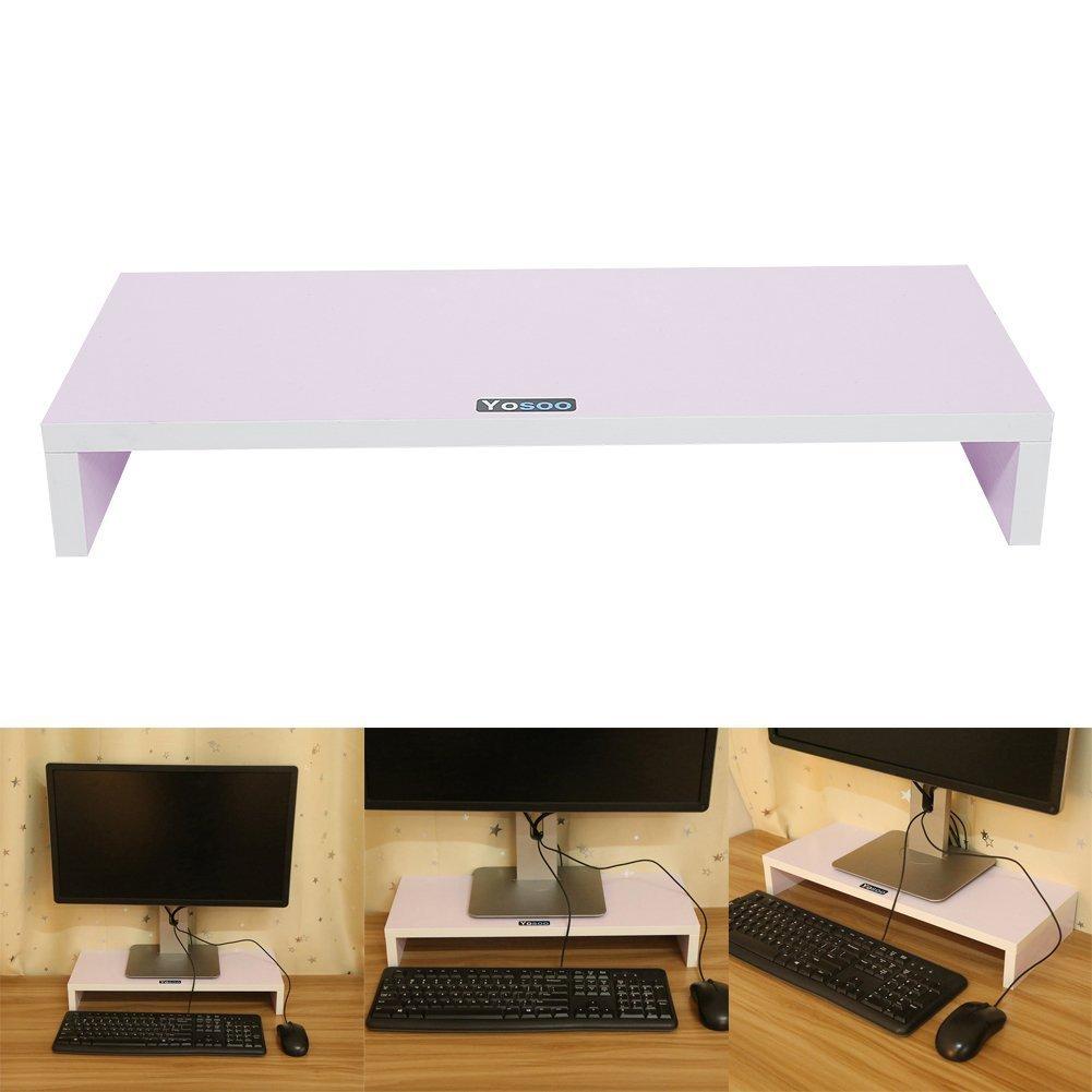 Yosoo Supporto Monitor Porta Shelf Stand Tavolino per Screen Display LCD TV iMac, notebook, PC, laptop in Legno ,regolabile 100-735