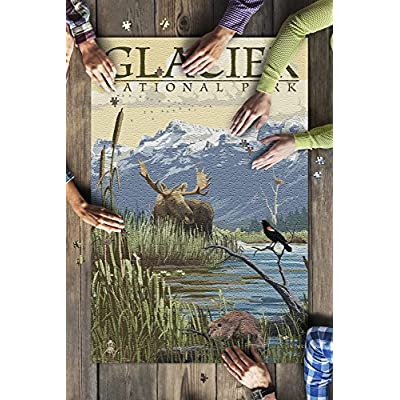 Glacier National Park, Montana - Mountain and Marsh Scene (Premium 1000 Piece Jigsaw Puzzle for Adults, 20x30, Made in USA!): Toys & Games
