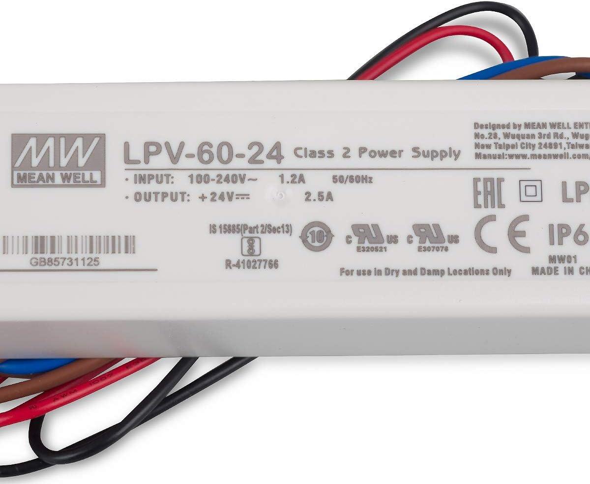 LED-Schaltnetzteil 24V 2,5A 60W IP67 Class2 LPV-60-24 von Meanwell