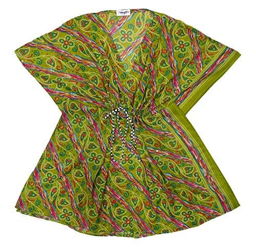 Stile Cielo VerdeHot Caffetano E Indiano Blu Rosa Miscela Donne Di Seta Notte Peegli Bandhani Lime Vintage Vestito Kaftan Stampato Marrone PXukiZ