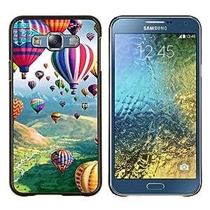 LECELL--Funda protectora / Cubierta / Piel For Samsung Galaxy E7 E700 -- Hot Air Balloon Flying naturaleza Cielo --