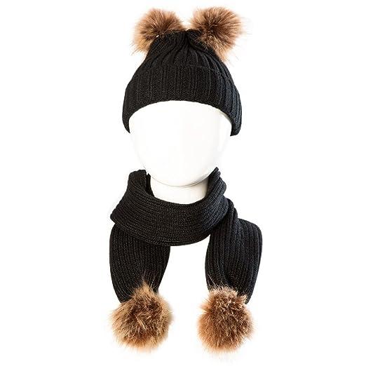 5b95579241c Ecurson Baby Cute Winter Kids Baby Hats Keep Warm Cute Hat Scarf Set (Black)