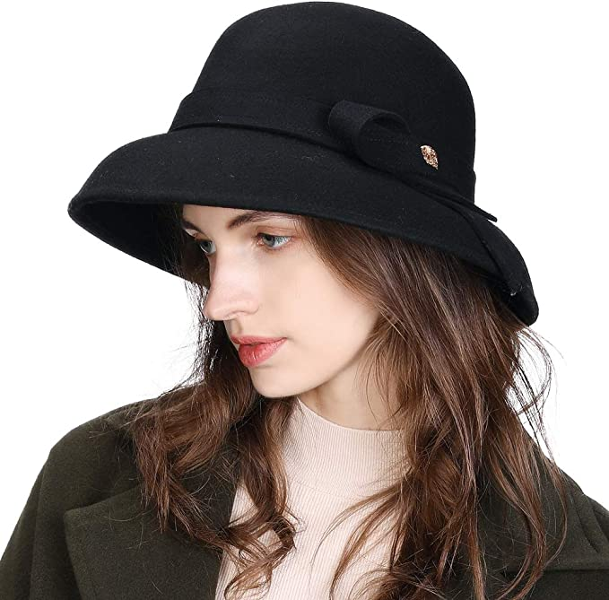 1950s Women's Hat Styles & History FANCET Womens 100% Wool Felt Cloche 1920s Fedora Bucket Hat Visor Warm Winter Newsboy Cabbie Peaked Beret Flapper Autumn Packable & Adjustable £18.99 AT vintagedancer.com