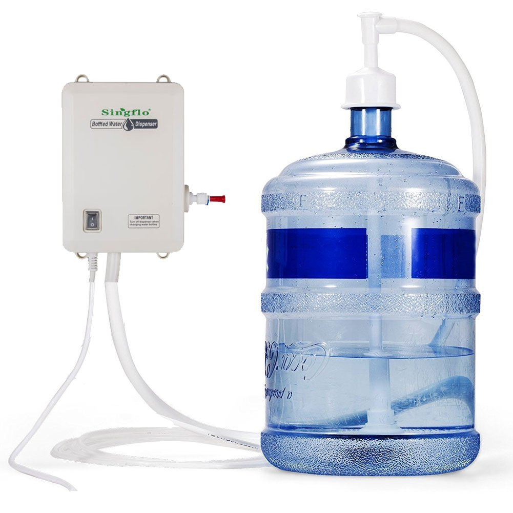 NOPTEG Bottled Water Dispensing System 20 ft Water Dispensing Pump System Single Inlet 115-127V AC for 3 5 6 Gallon Bottle with US Plug