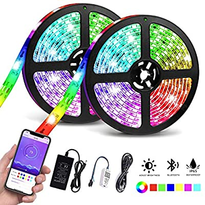 LED Strip Lights Waterproof, 32.8ft/10M Bluetooth LED Chasing Light with APP, Dream Color Changing RGB Rope Lights Kit, 12V 300 LEDs Flexible Led Strip Lighting for Bedroom Kitchen Home Decoration