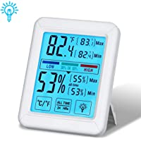Tvird Higrómetro de termómetro Digital para Habitaciones con Pantalla de retroiluminación, Registros mínimos/máximos, ° C / ° F conmutable, Pantalla táctil