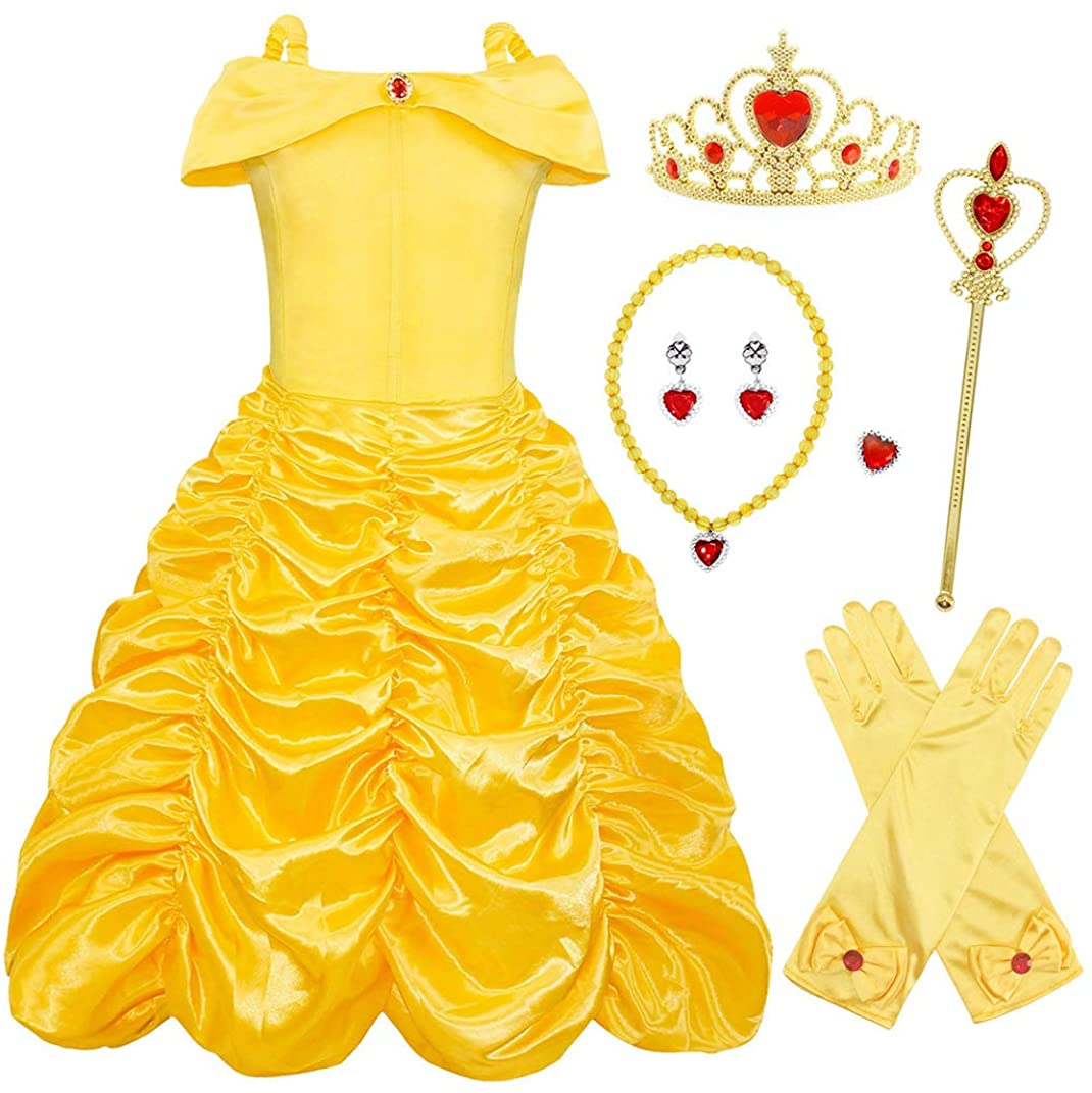 Jurebecia Belle Costume Girls Off Shoulder Party Cosplay Dress with Accessories