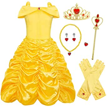 HenzWorld Princess Snow White Costumes Dress Up Halloween Birthday Party Cosplay Outfit Jewelry Accessories
