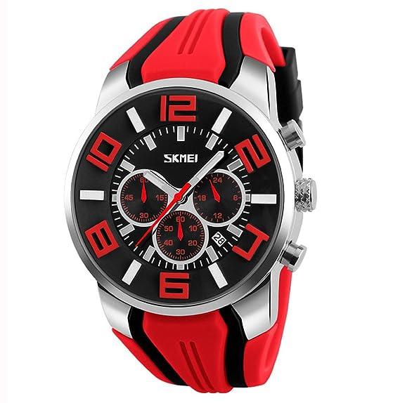 Moda Deporte Correa de Silicona Tres Pequeños Diales Reloj de Cuarzo Para Hombre, Rojo: Amazon.es: Relojes