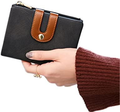Women PU Leather Wallet Portable Multifunction Mini Solid Color With Zipper CB