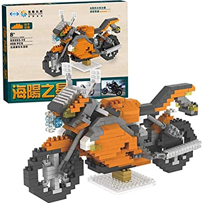WXX Miniature DIY Assembled Children's Educational Building Blocks Toy Simulation Motorcycle Model Birthday Party Christmas Collection Gift,Orange: Home & Kitchen