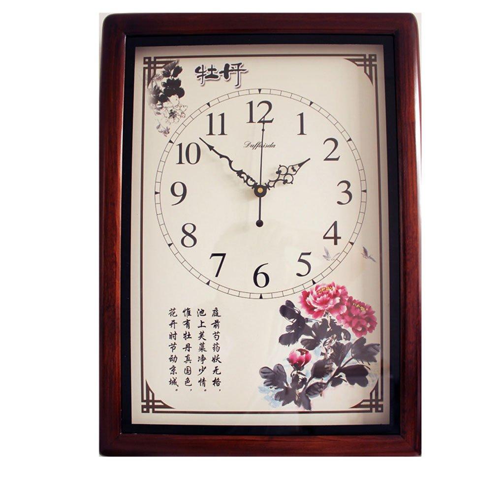 16インチ大中国スタイルの壁時計ソリッドウッド長方形ミュート庭装飾54 Cm * 39 Cm (色 : B) B07CSNDRB4 B B
