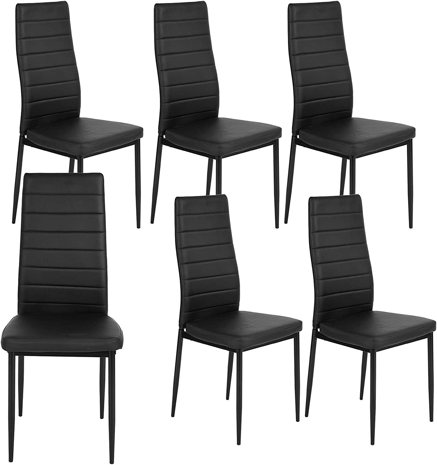 HouseInBox Leather Dining Chairs, Modern PU Side Chair with Metal Feet Back Support, for Dining Room Set of 6 (Black)