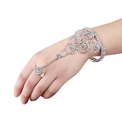 1bca03a97f Yilanair Wedding Bridal Crystal Slave Bracelet Cuff Finger Ring Set for  Women Hand Harness Chain (