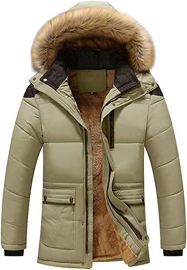 Generic Mens Winter Solid Color Quilted with Hood Front-Zip Thick Warm Down Jacket Coat