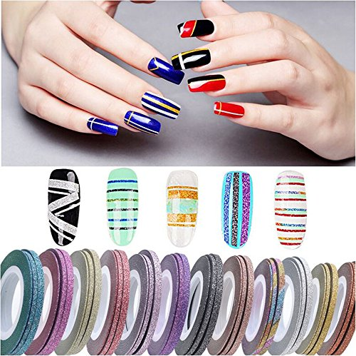 XICHEN 42 Pieces Nail Art Striping Tape Line Decoration, Matte texture
