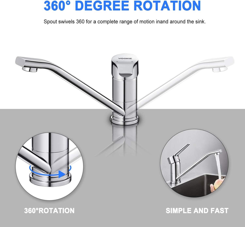 A/érateur D/émontable WOOHSE Robinet Cuisine Rotatif /à 360/° Mitigeur Evier avec Bec Bas Mobile en Laiton Chrom/é