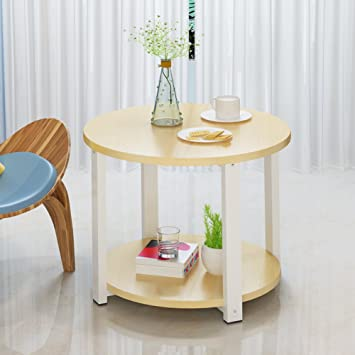 big sale 04e2d 3ac1b Solid Wood Round Side Table,Double Layer Living Room Sofa ...