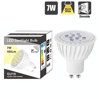 Lampara Bombilla Foco Spot de LED Casquillo GU10 Regulable 7W Luz Calida 3000K 220V -240V