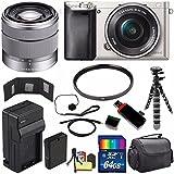 Sony Alpha a6000 Mirrorless Digital Camera with 16-50mm Lens (Silver) + Sony SEL 1855 18-55mm Zoom Lens + 64GB Bundle 12 - International Version (No Warranty)