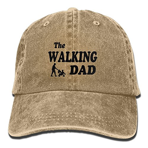 Walking Dad With Stroller Hipster Unisex Baseball Cap With Adjustable Closure Unique Printed Gift For Men (Brown Single Stroller)