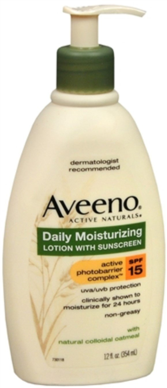 AVEENO Active Naturals Daily Moisturizing Lotion With Sunscreen SPF 15 12 oz (10 Pack)