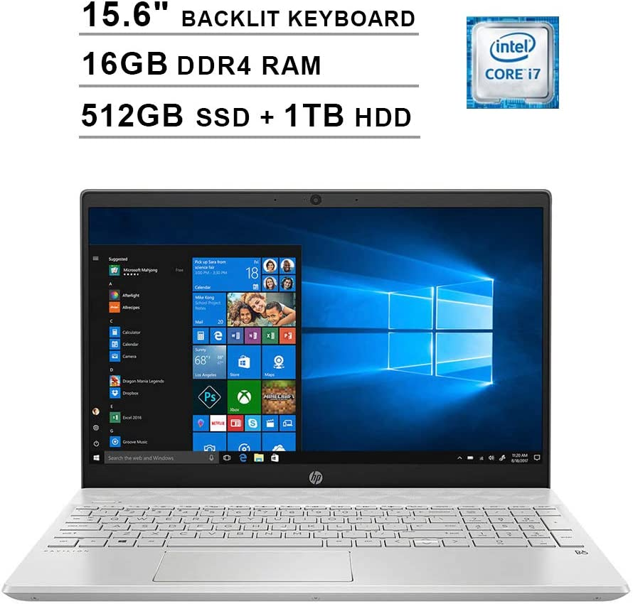 2020 HP Pavilion 15.6 Inch FHD 1080P Touchscreen Laptop (Intel Core i7-1065G7 up to 3.9GHz, 16GB DDR4 RAM, 512GB SSD (Boot) + 1TB HDD, Intel Iris Plus, Backlit KB, HDMI, WiFi, Bluetooth, Win10)