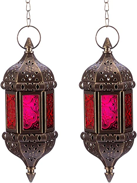 Vintage Bronze Lamp Moroccan Garden Lantern Candle Holder Metal Party Decor GIFT