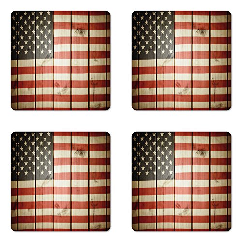 Ambesonne American Flag Coaster Set of 4, Usa Flag over Vertical Striped Wooden Board Citizen Solidarity Artwork, Square Hardboard Gloss Coasters for Drinks, Standard Size, Coral Cream