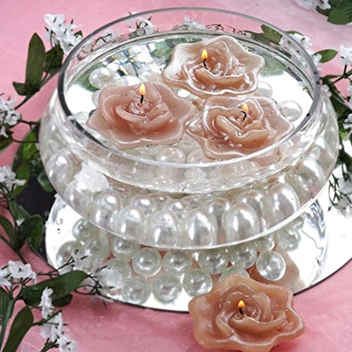 Efavormart Set of 4 Dusty Rose Unscented Floating Rose Candle for Wedding Party Birthday Centerpieces Home Decorations Supplies