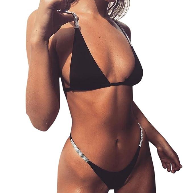 AmazingDays Mujeres Conjunto de Bikinis Atractivo Mujer Sujetador Push-up de Mujer Bikinis Brasileño Mujer