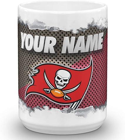 Tampa Bay Buccaneers Bucs Color Blast Custom Personalized Name Football Coffee Mug Gift 15oz Hartigernoran