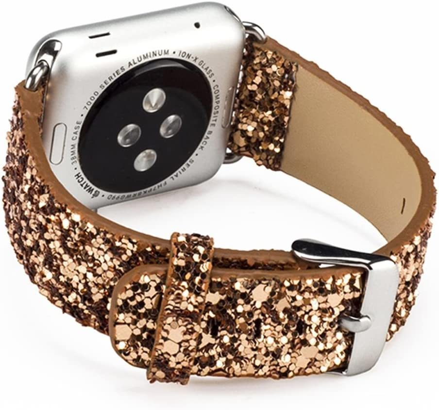KuToo Replacement for iWatch Band, 3D Bling Glitter Leather Bracelet Smart Watch Band Wristband Replacement Strap For Series se/6/5/4/3/2/1 (38mm Gold)