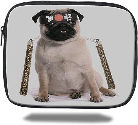 Amazon.com : iPad Bag, Pug, Ninja Puppy with Nunchuk Karate ...
