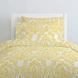 Carousel Designs White and Yellow Vintage Damask Duvet Cover Twin Size - Organic 100% Cotton Duvet Cover - Made in the USA